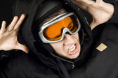 Snowboarding boy reacting on accident — Stock Photo