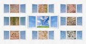 与墙壁打开窗口自由概念 — 图库照片
