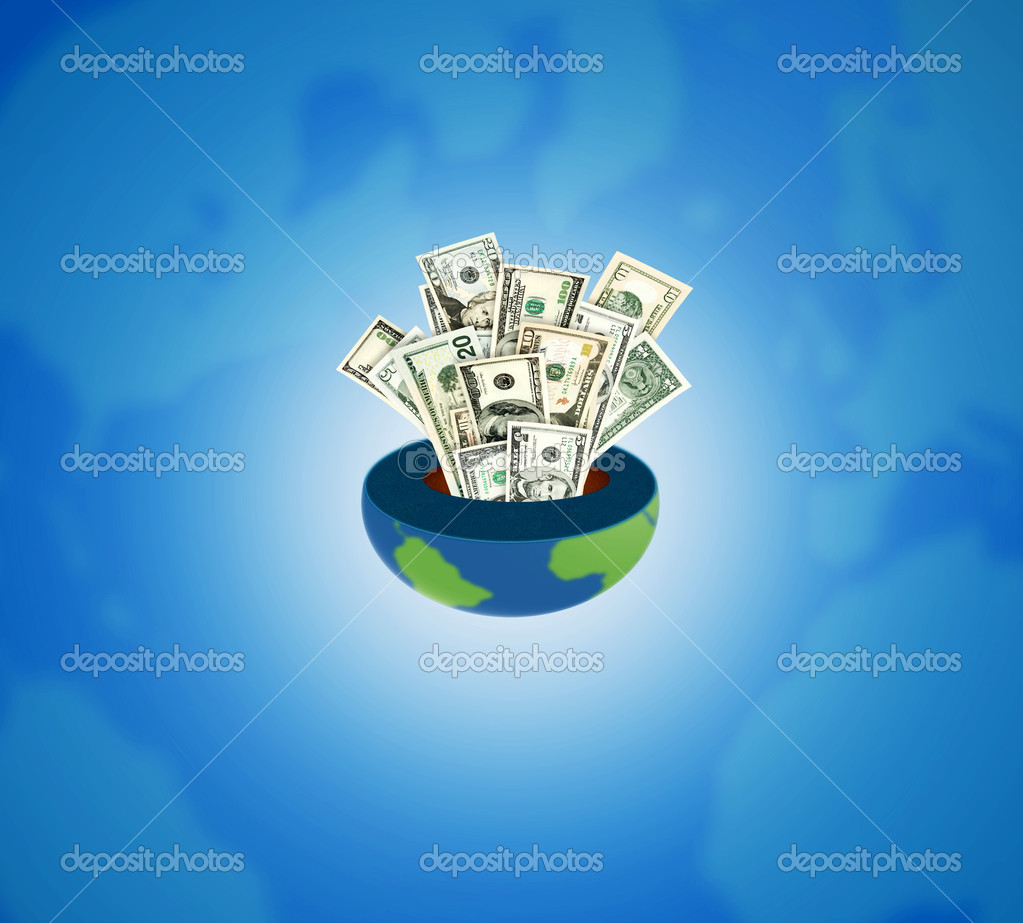 Concept of a worldwide globalized business and profits.  Stock Photo #3048134