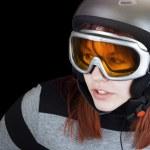 Постер, плакат: Redhead girl snowboarding