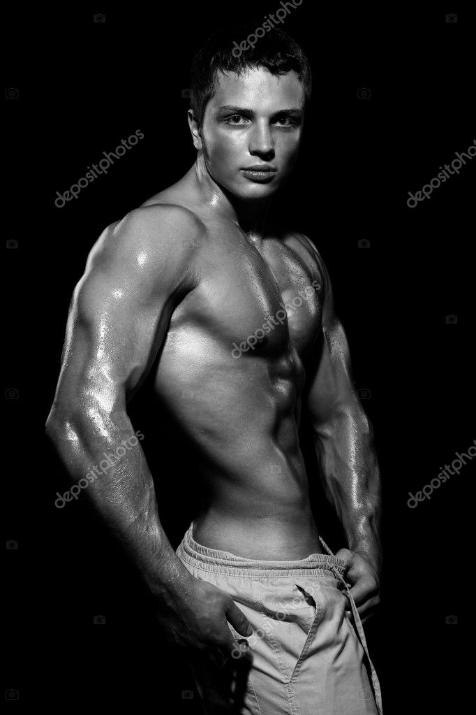 Young sports guy with a naked torso  Stock Photo #3238056