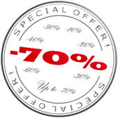 """Stamp """"Up to -70%"""" — Stock Photo"""