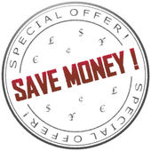 "Stamp ""Save money!"" — Stock Photo"