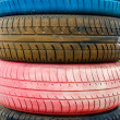 Colored old tires - Stock Photo