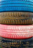 Colored old tires — Stock Photo