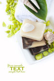 Spa setting with natural soaps and shampoo — Stock Photo