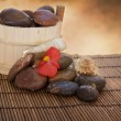 Spa setting with stones and shells - Stok fotoraf