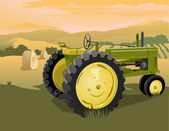 Farm Tractor Scene — Stock Vector