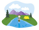 Boy flyfishing — Stock Vector