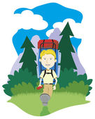 Boy Hiking — Stock Vector