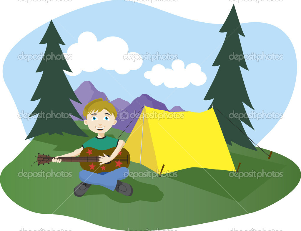 Illustration of a boy playing guitar at his camp sight.  Stock Vector #3059657