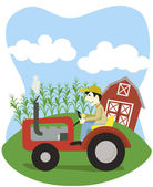 Farmer On A Tractor — Stock Vector