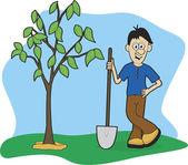 Planting A Tree — Stock Vector