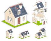 Izometrické vektorové ilustrace domu — Stock vektor