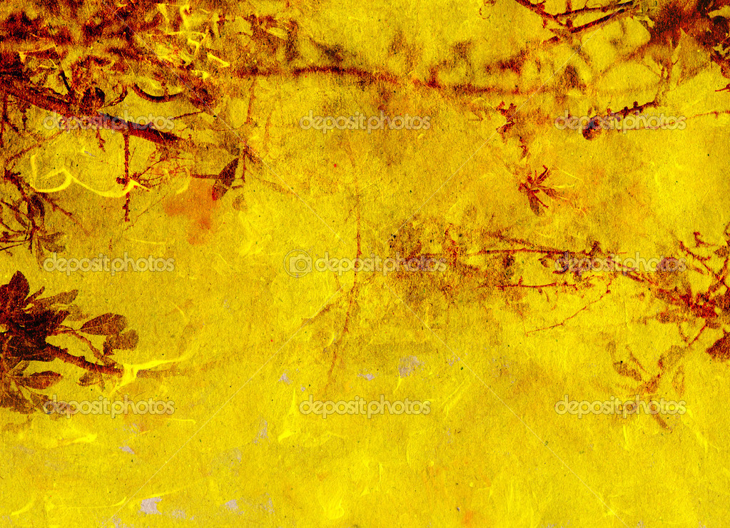 Background yellow and red texture with decorative vegetal — Stock Photo #3073152