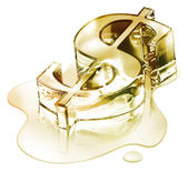 Krize finanční - symbol dolaru v tavení zlata - fusion — Stock fotografie