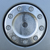 Design fuel cap with droplets - metal lock and bolts — Stock fotografie