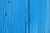 Old gate in wood, blue painted, for background — Foto Stock
