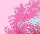 Yeşillik - vektör çizim - pembe sabah renkli manzara — Stok fotoğraf