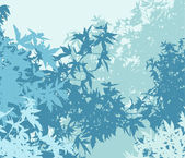 Colorful landscape of foliage in cold mist - Vector illustration — Stock Photo