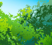 Colorful landscape of summer foliage - Vector illustration — Stock Photo