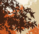 Automn kahverengi yapraklar - manzara renkli vektör illustratio — Stok fotoğraf