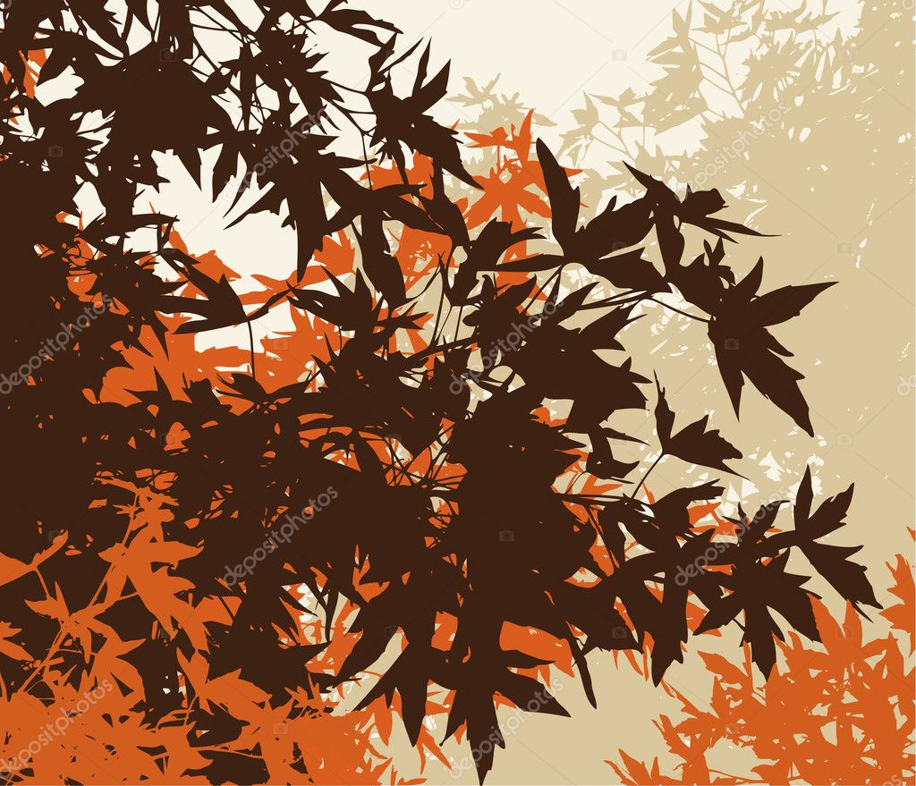 Colored landscape of automn brown foliage - Vector illustrationThe different graphics are on separate layers so they can easily be moved or edited individually  Stock Photo #3600927