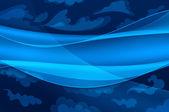Blauwe achtergrond - abstract golven en gestileerde wolken — Stockfoto