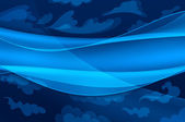 Blue background - abstract waves and stylized clouds — 图库照片