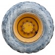 Wheel of backhoe / tractor - used - isolated with path - 
