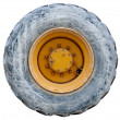 Wheel of backhoe / tractor - used - isolated with path - Foto Stock