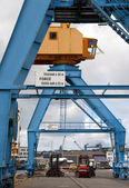 Port cranes on a dock in the port of Brest (France) — Stock fotografie