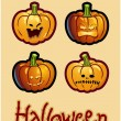 Halloween's drawing - four grimacing pumpkin heads of Jack-O-Lantern — Stok fotoğraf