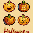 Halloween&#039;s drawing - four grimacing pumpkin heads of Jack-O-Lantern - Stock Photo