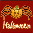 Halloween's drawing - a pumpkin head with spider's legs - ストック写真