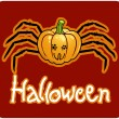 Halloween&#039;s drawing - a pumpkin head with spider&#039;s legs - 