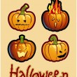 Foto de Stock  : Halloween's drawing - four pumpkin heads of Jack-O-Lantern