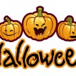 Halloween titling with three pumpkin heads of Jack-O-Lantern - Foto Stock