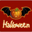 Halloween - a pumpkin head of Jack-O-Lantern with bat&#039;s wings - Stock Photo