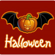 Halloween - a pumpkin head of Jack-O-Lantern with bat's wings — Photo