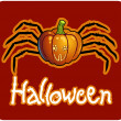 Halloween&#039;s drawing - a pumpkin head with spider&#039;s legs - Stock Photo