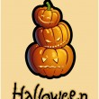 Halloween's drawing - three pumpkin heads of Jack-O-Lantern — Stockfoto