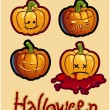 Halloween's drawing - four pumpkin heads of Jack-O-Lantern - Stock Photo