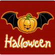 Halloween - a pumpkin head of Jack-O-Lantern with bat&#039;s wings - 