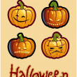 Halloween&#039;s drawing - four scary pumpkin heads of Jack-O-Lantern - Stock Photo