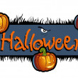 Halloween scary titling with three pumpkin heads of Jack-O-Lantern - Stock Photo