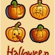 Halloween's drawing - four pumpkin heads of Jack-O-Lantern - Zdjęcie stockowe
