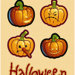 Halloween's drawing - four pumpkin heads of Jack-O-Lantern — 图库照片