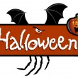 Halloween scary titling with bat wings and a pumpkin head - Foto Stock