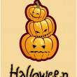 Halloween&#039;s drawing - three pumpkin heads of Jack-O-Lantern - 
